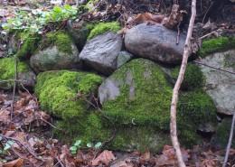 Stensatt kant söder om skvaltkvarn lämning 1. Foto mot O.